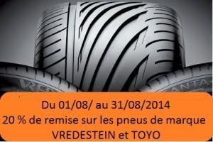 Promo pneus août 2014